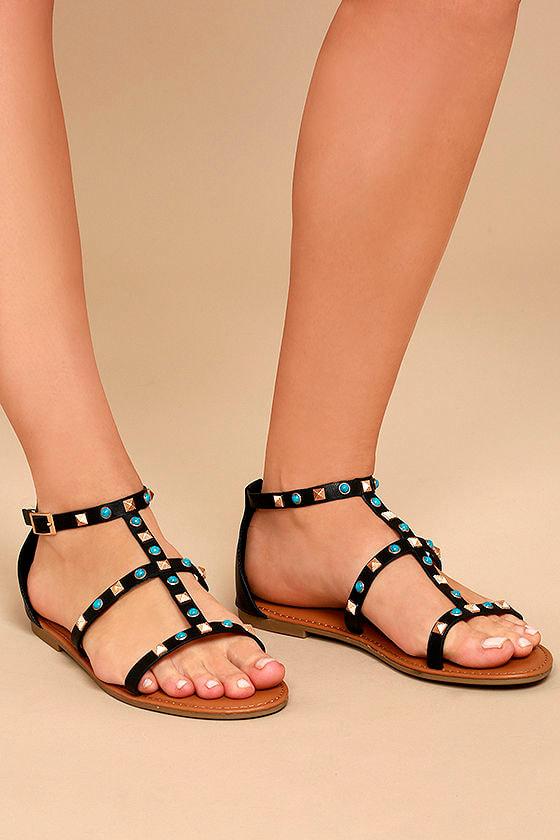 fa0894832 Boho Sandals - Black Studded Sandals - Gladiator Sandals -  28.00