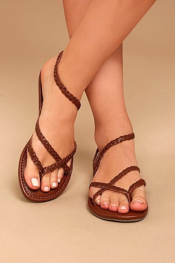 Mia Braid Sandals - Cognac Sandals - Leather Thong Sandals -  49.00