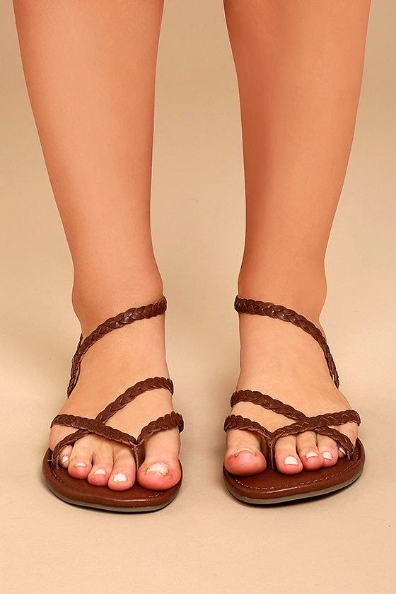 246971dc2d3e10 Mia Braid Sandals - Cognac Sandals - Leather Thong Sandals -  49.00