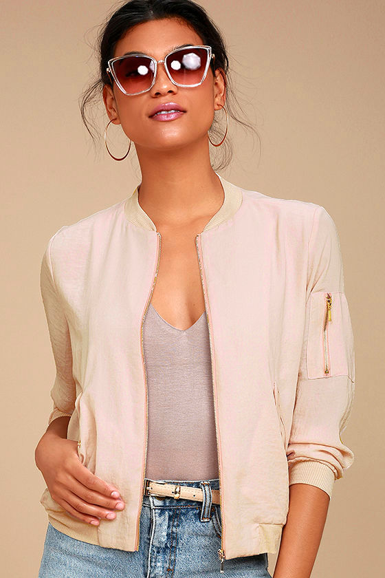 Cool Blush Pink Bomber Jacket - Lightweight Bomber Jacket - Woven ...