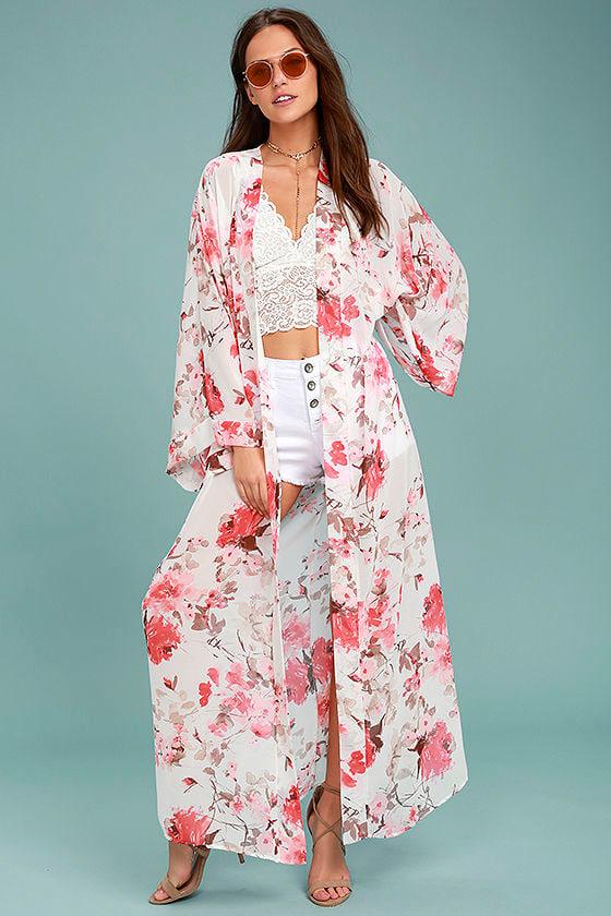 35723eae7f44 Lovely Cream Kimono Top - Floral Print Kimono - Maxi Kimono - $54.00