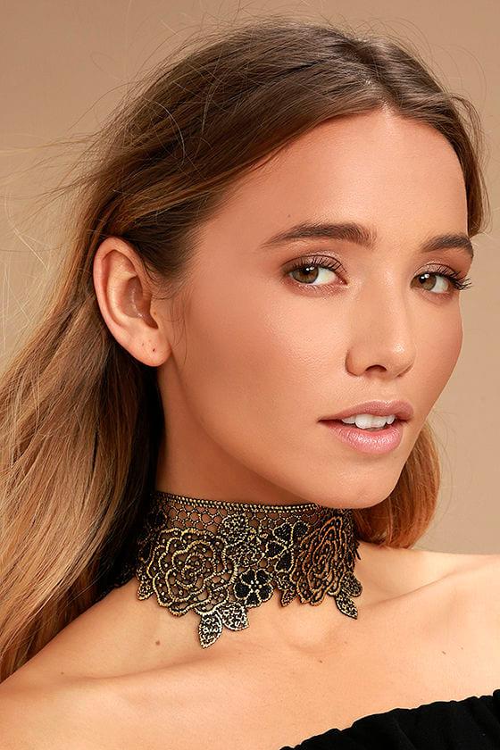Zevida Black and Gold Lace Choker Necklace 1
