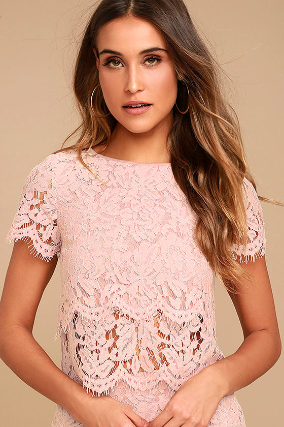 Cute Blush Pink Top - Lace Crop Top - Lace Top - Scalloped ...