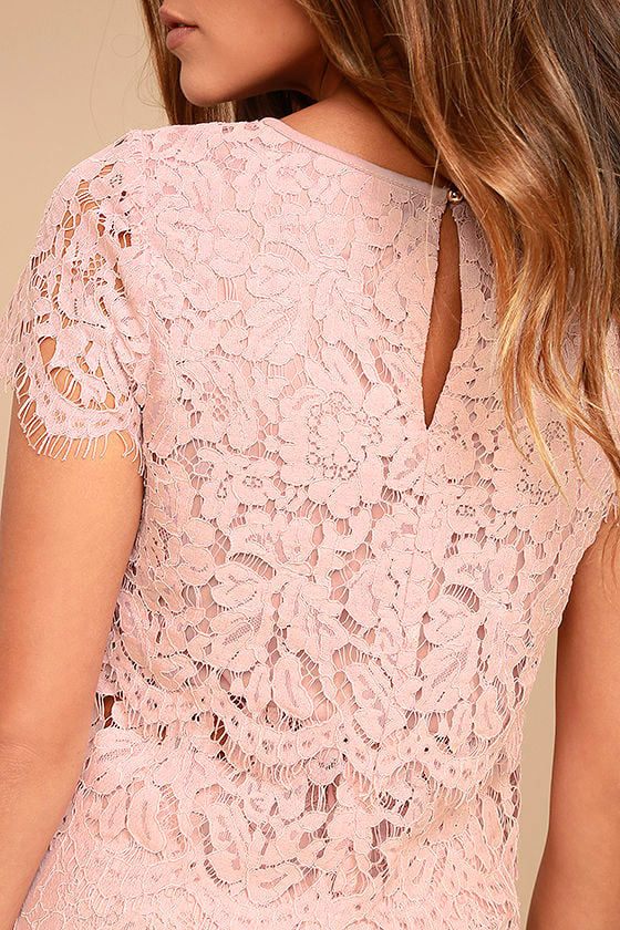 Heartbeats Blush Pink Lace Crop Top 4