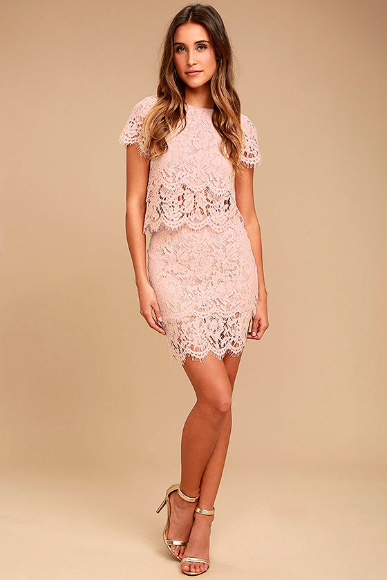 Live For the Night Blush Pink Lace Skirt 2