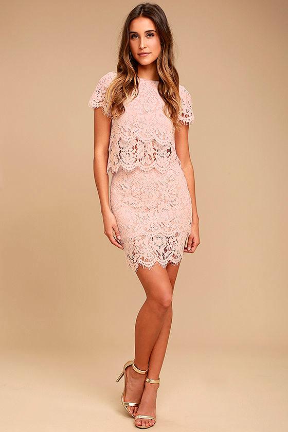 382d04bad6 Sexy Lace Skirt - Blush Pink Lace Skirt - Lace Mini Skirt - $31.00