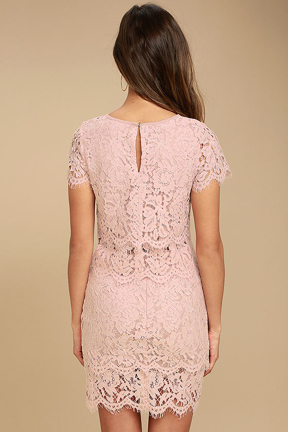 Live For the Night Blush Pink Lace Skirt 3
