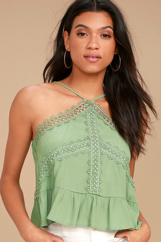 7cf4232919a95 Chic Sage Green Top - Crocheted Lace Top - Lace Crop Top -  34.00