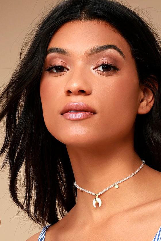 Shashi Madeline Gold and Ivory Choker Necklace 1