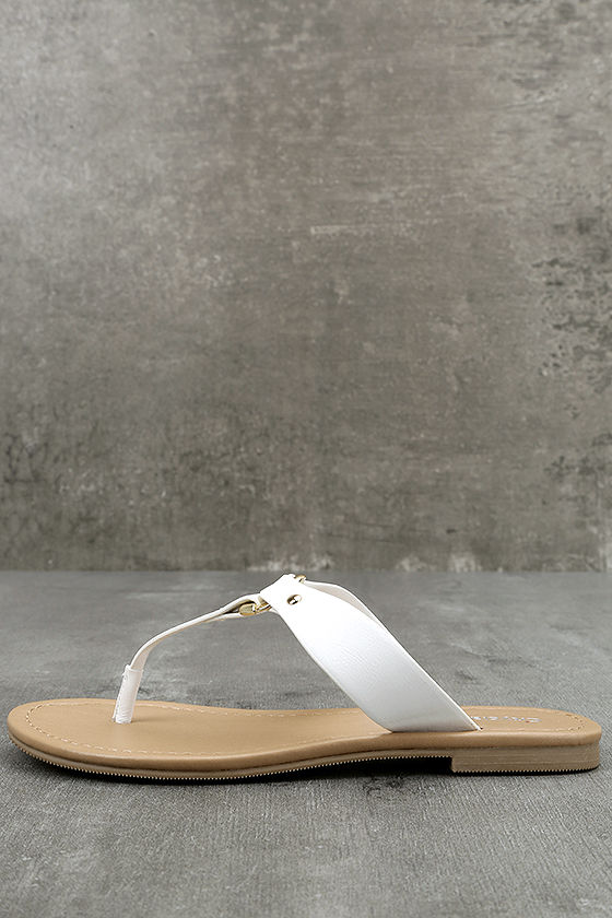 580cc102b Chic White Sandals - Thong Sandals - Vegan Leather Sandals -  19.00