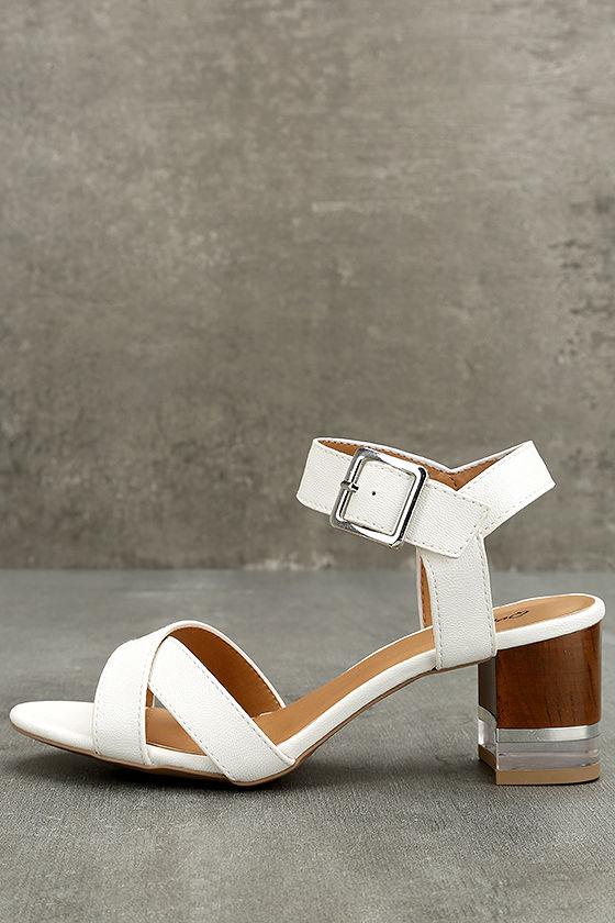 d8820e821 Trendy Lucite Heel Sandals - White High Heel Sandals - Vegan Leather Sandals  -  45.00