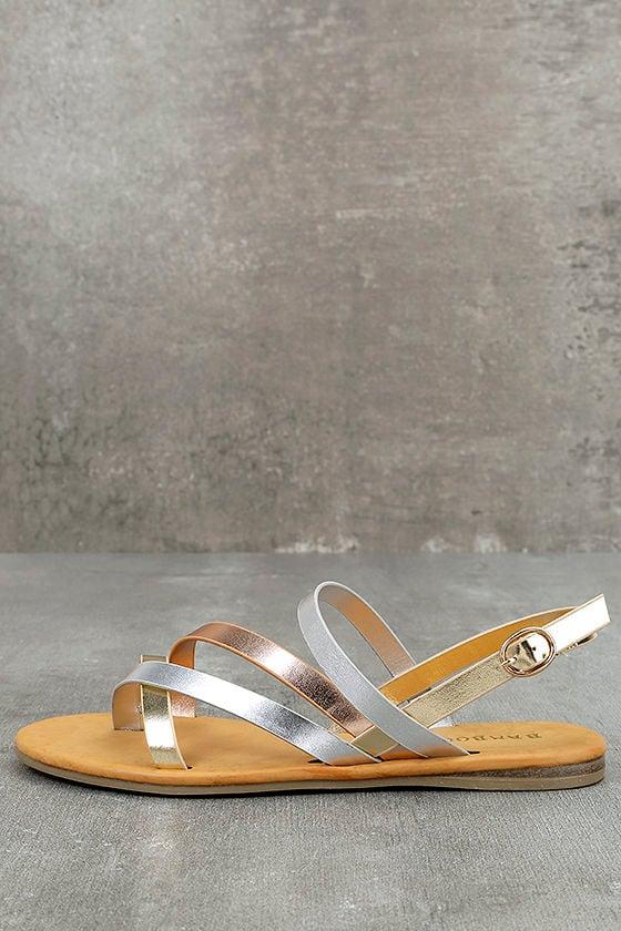 Chic Metallic Sandals - Multi Colored Sandals -Vegan Leather