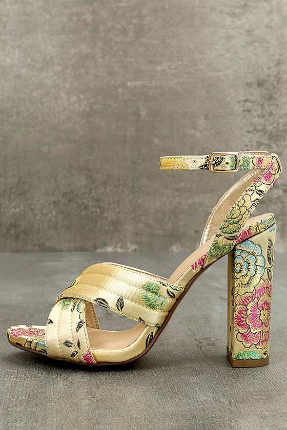 Genevieve Champagne Brocade Ankle Strap Heels 1