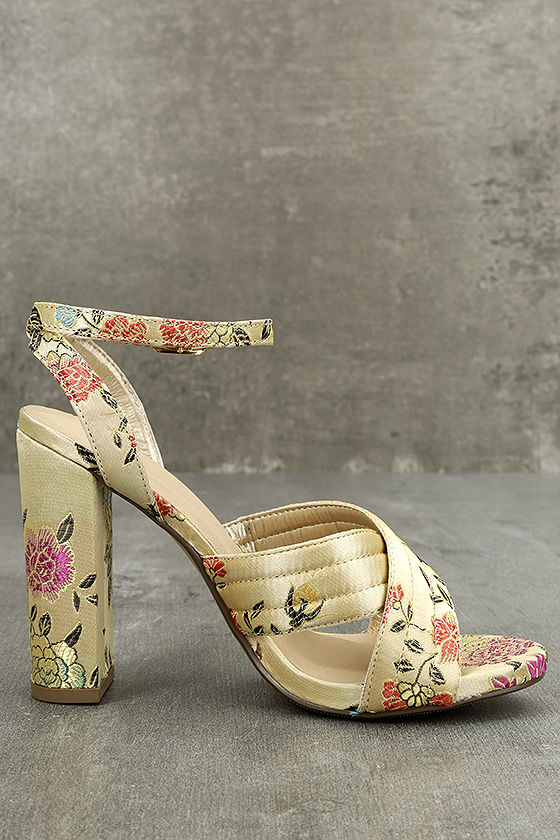 Genevieve Champagne Brocade Ankle Strap Heels 3