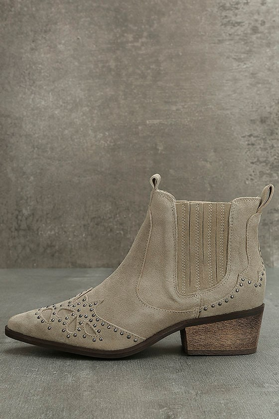 Amuse Society x Matisse Backstage Taupe Suede Leather Booties 1