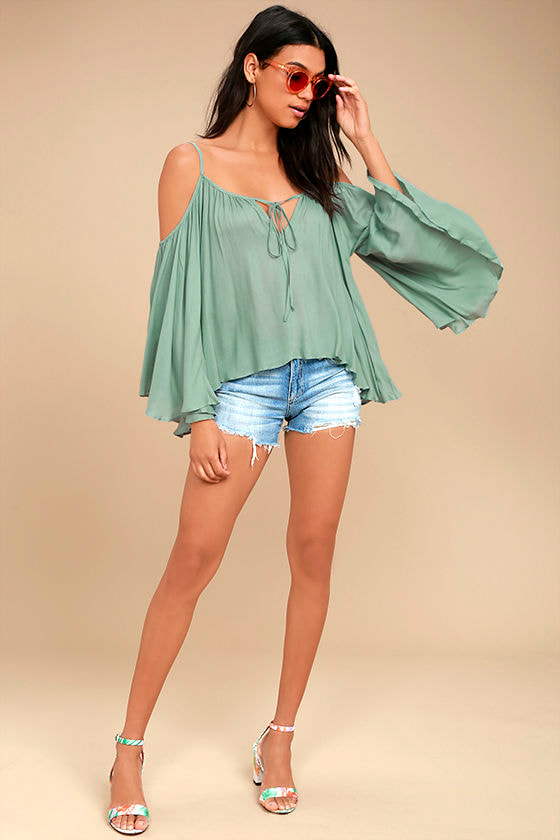 Thought-Provoking Sage Green Off-the-Shoulder Top 2