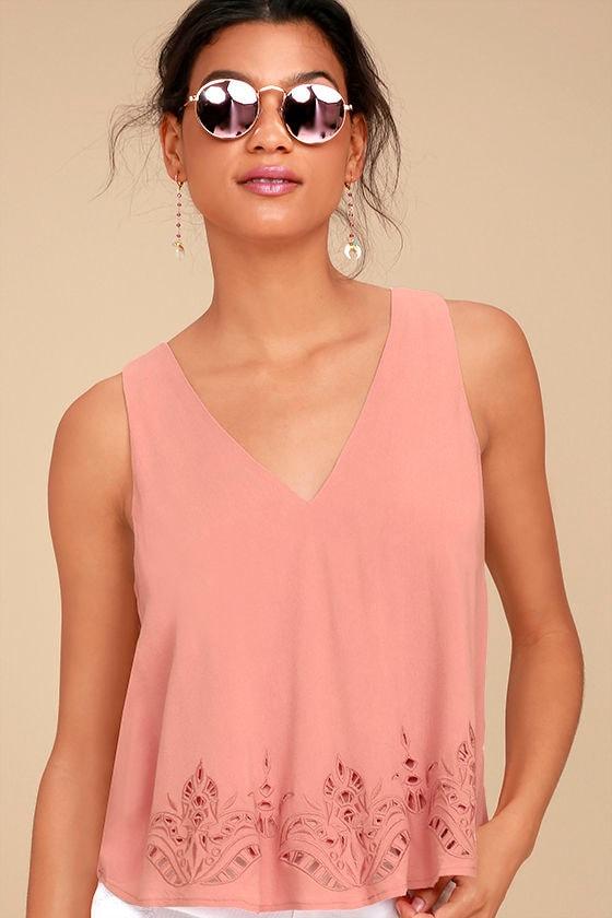 Vacay Vision Blush Pink Lace Top 1
