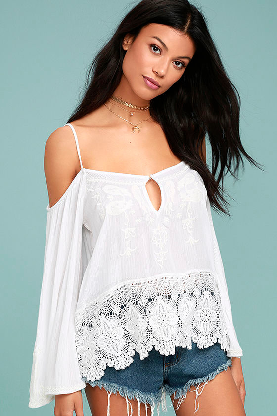 PPLA Mariela White Lace Off-the-Shoulder Top 1