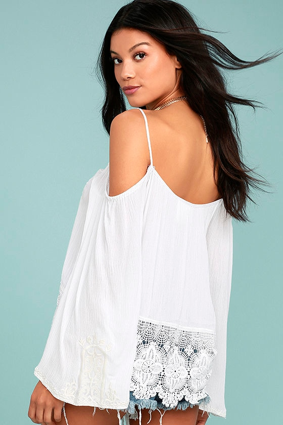 PPLA Mariela White Lace Off-the-Shoulder Top 2