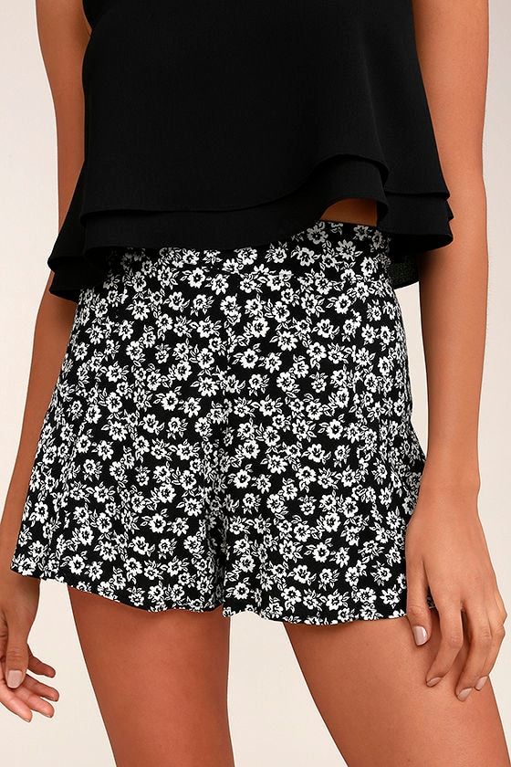 Lucy Love Wedding Crasher Black Floral Print Shorts 1