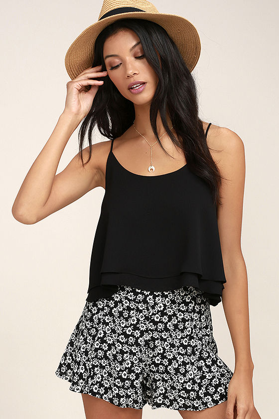 Lucy Love Wedding Crasher Black Floral Print Shorts 2
