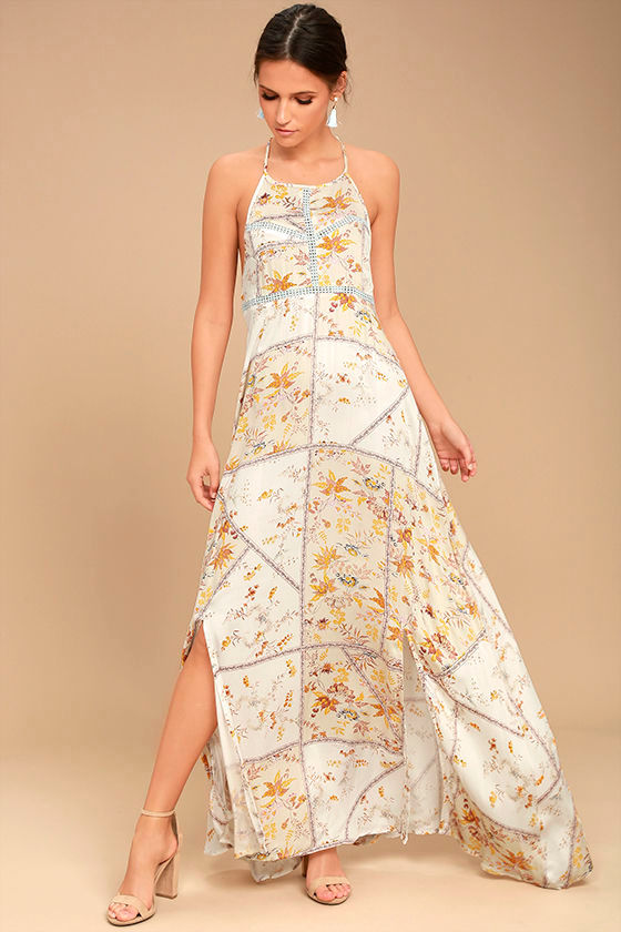Somedays Lovin' A Little Sunshine Cream Floral Print Maxi Dress 1