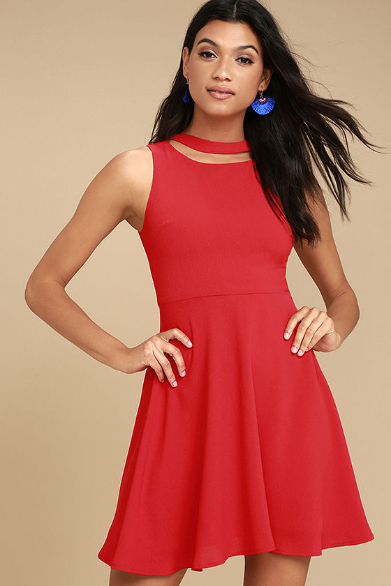 J.O.A. Diana Red Skater Dress 1