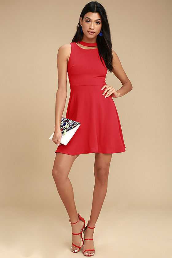 J.O.A. Diana Red Skater Dress 2