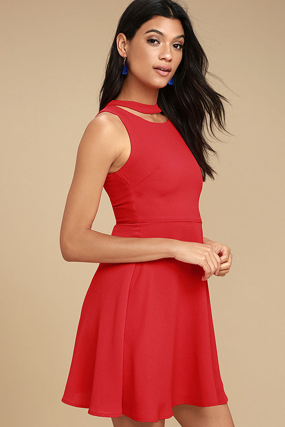 J.O.A. Diana Red Skater Dress 3