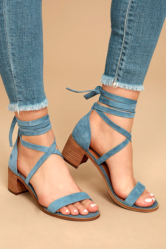 Steve Madden Rizzaa Light Blue Suede Leather Heeled Sandals 1
