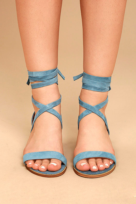 Steve Madden Rizzaa Light Blue Suede Leather Heeled Sandals 2