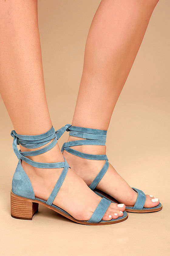 Steve Madden Rizzaa Light Blue Suede Leather Heeled Sandals 3
