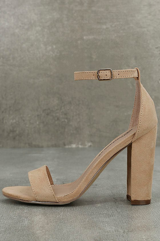 Raylen Natural Suede Ankle Strap Heels 1