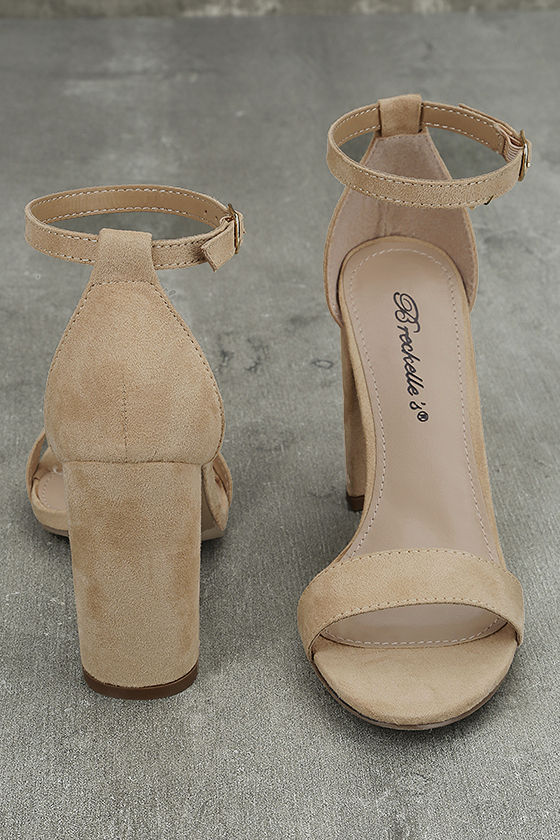Raylen Natural Suede Ankle Strap Heels 2