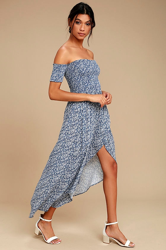 937b1e7051 Lucy Love Tranquility Dress - Blue Floral Print Dress - High-Low ...