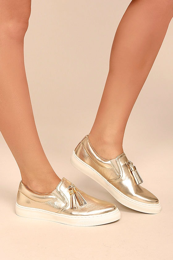 Abby Gold Slip-On Sneakers 1