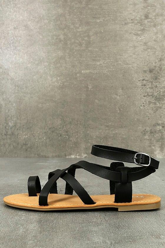 Kaya Black Ankle Strap Sandals 1