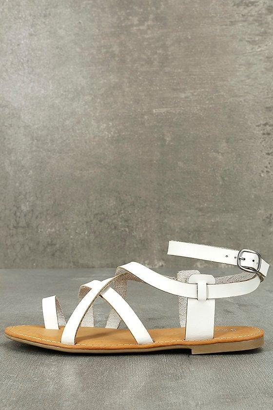Kaya White Ankle Strap Sandals 1