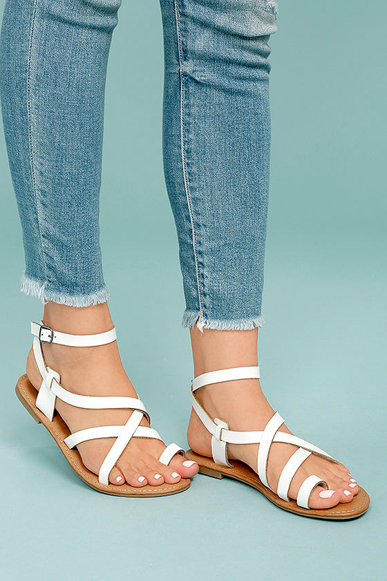 Cute White Sandals Vegan Leather Sandals Flat Sandals