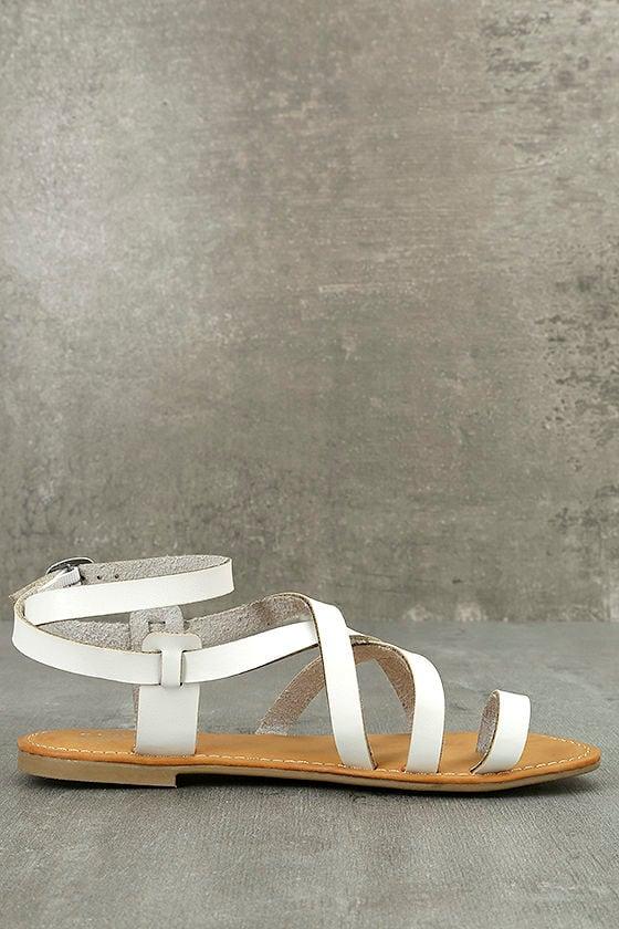 Kaya White Ankle Strap Sandals 4