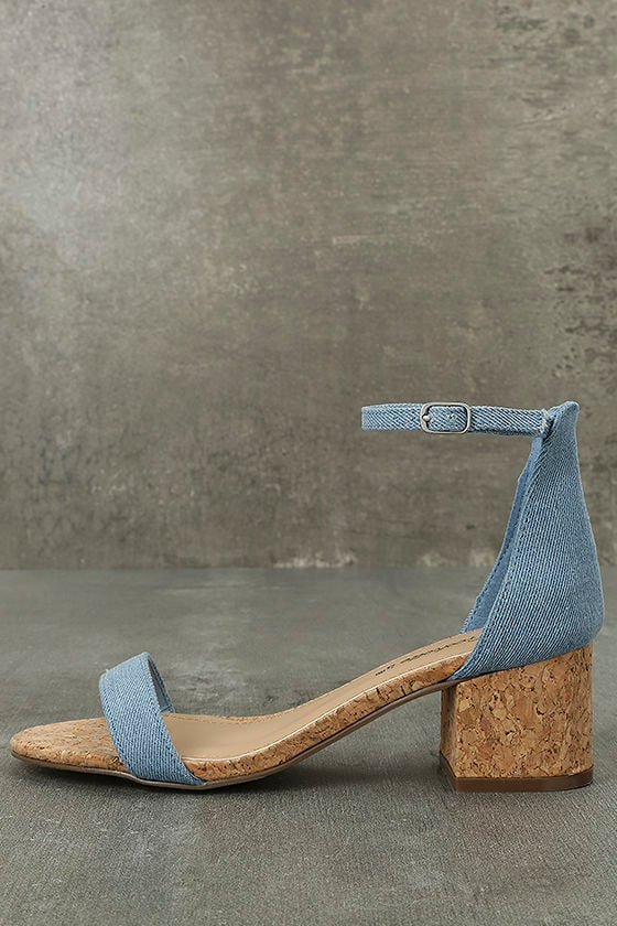 June Blue Denim Cork Ankle Strap Heels 1