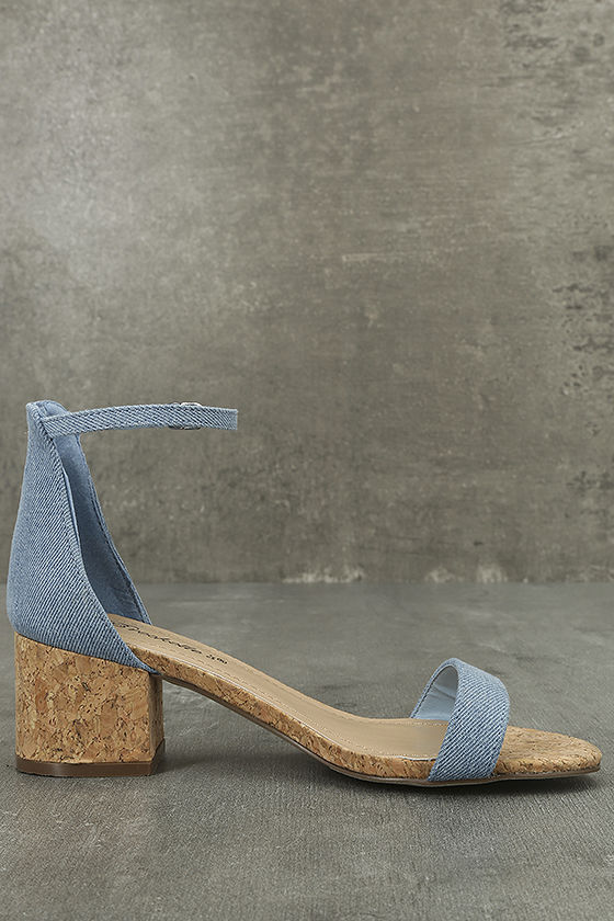 June Blue Denim Cork Ankle Strap Heels 3