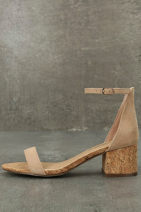 June Natural Cork Ankle Strap Heels 1