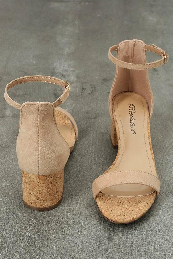 June Natural Cork Ankle Strap Heels 2