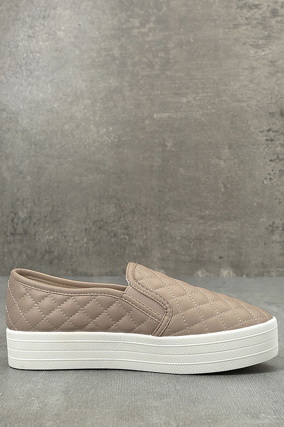 Cosima Natural Quilted Flatform Slip-On Sneakers 3