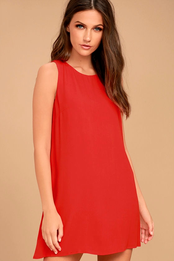 f88bb35f8baf Lovely Coral Red Dress - Coral Red Shift Dress - Sleeveless Shift Dress -  $42.00