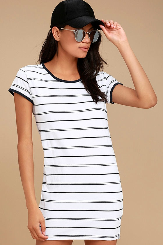 Rhythm Essentials Blue and White Striped Shirt Dress 1