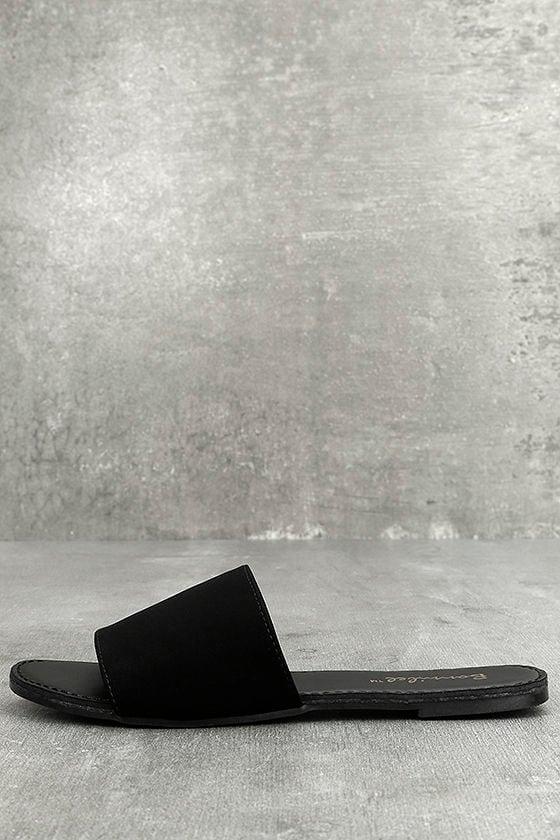 Addison Black Nubuck Slide Sandals 1