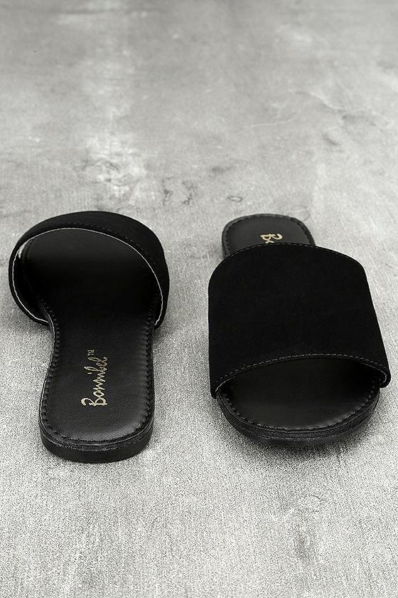 Addison Black Nubuck Slide Sandals 2