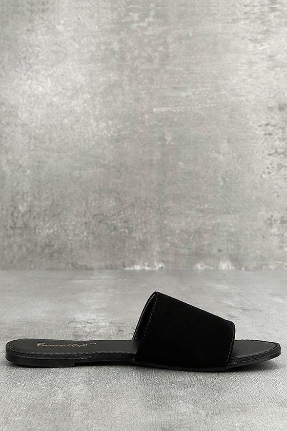 Addison Black Nubuck Slide Sandals 3